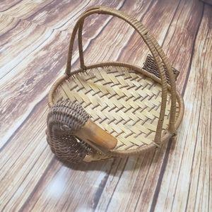 Vintage Wicker Duck Basket Boho Bohemian Decor 70s